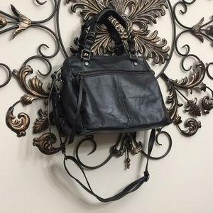 Elliott Lucca black leather satchel crossbody